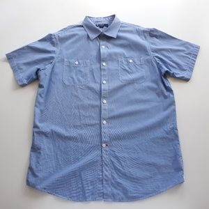 Cremieux Blue Short Sleeve Mens Shirt Sz L